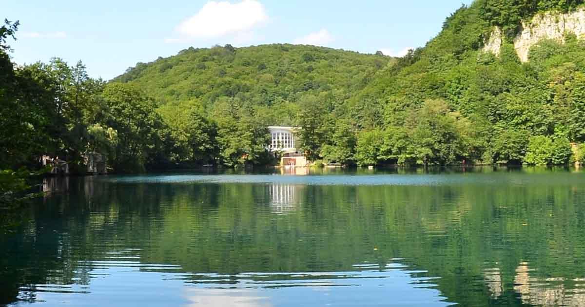 Lower blue lake. Aerial panorama.