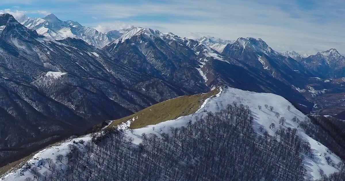 Mount Fetkhuz, view from the north. Panorama from the air.