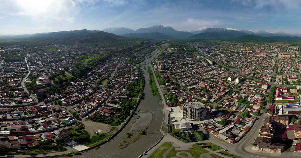 Vladikavkaz city, district of the house of printing. Aerial panorama.