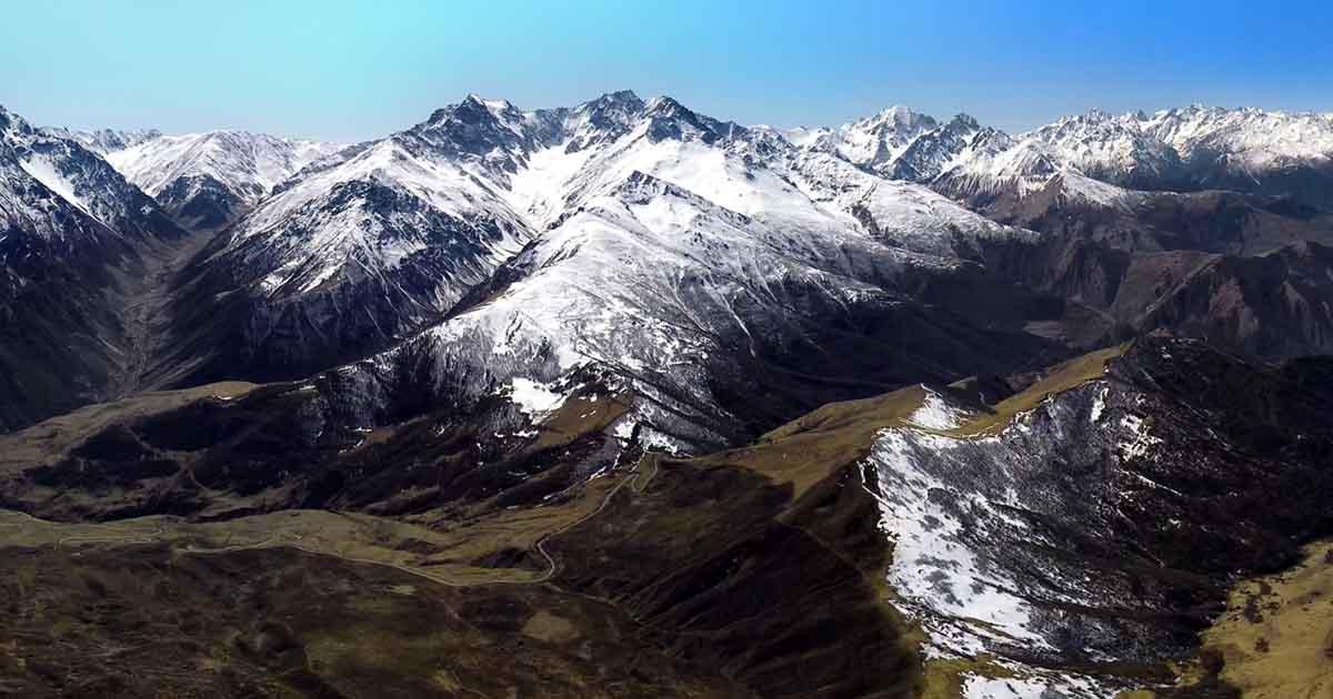 Arkhon pass. Aerial panorama.