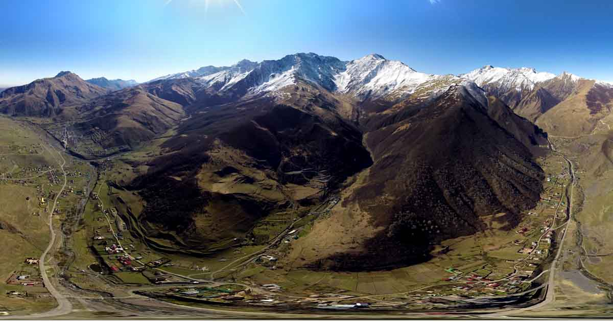 Khidikus village. Aerial panorama.